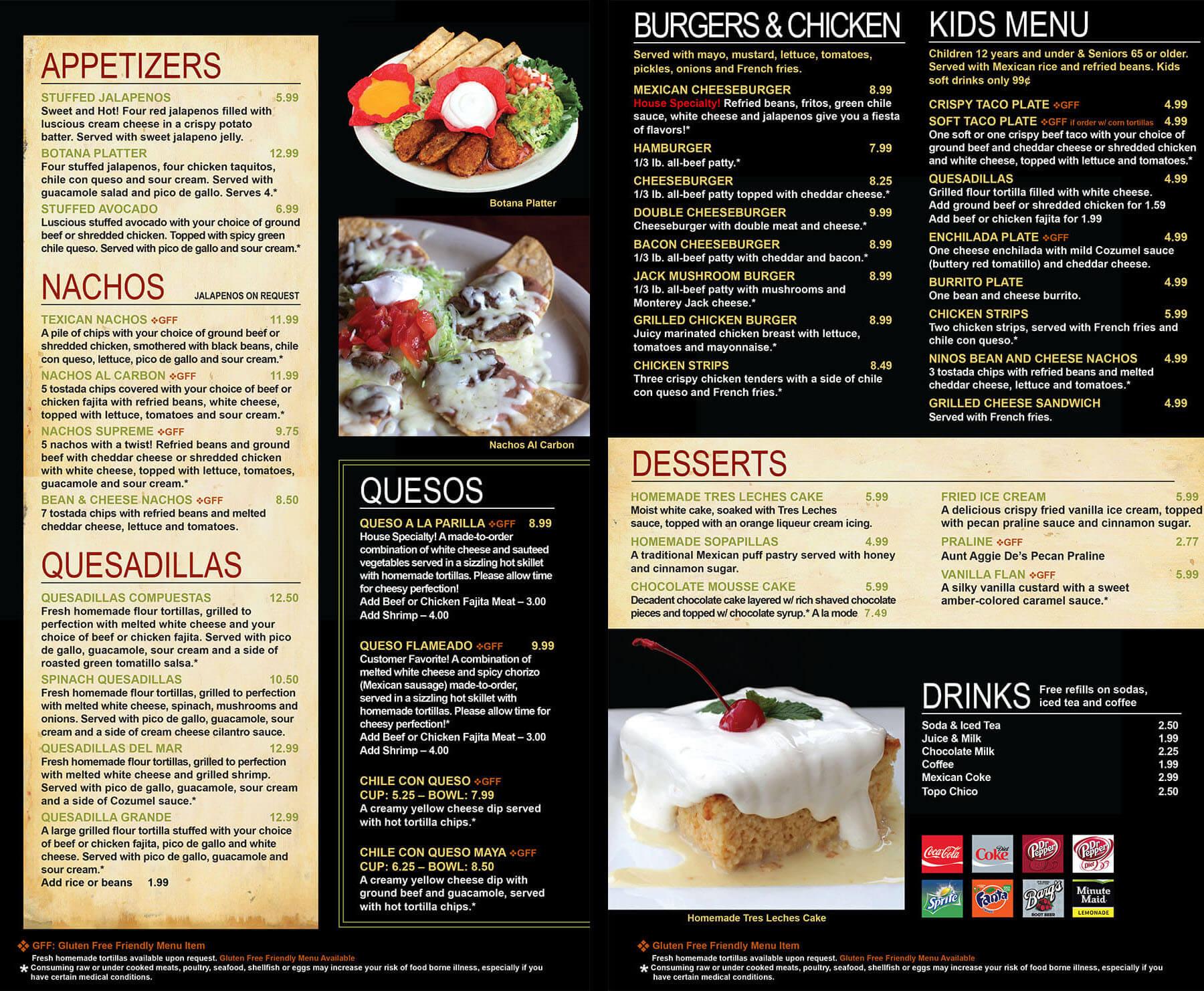 Texican menu