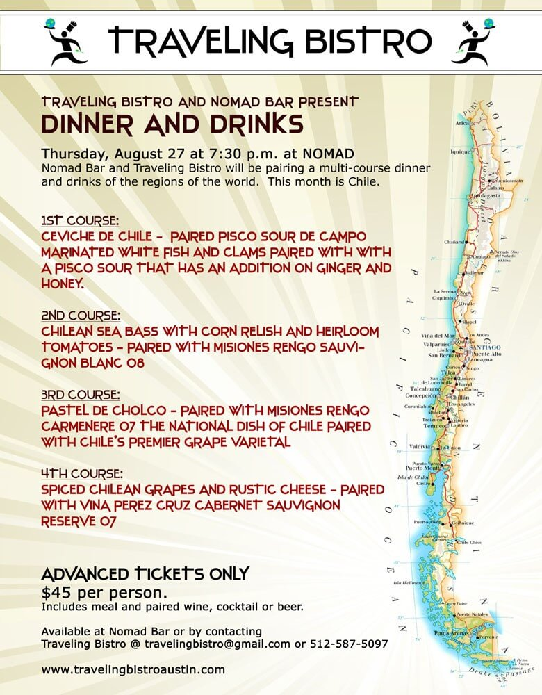 Traveling Bistro Chilean Dinner and Drinks